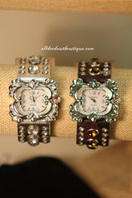 Camouflage/White Silver Studs & Clear Rhinestones | Leather Band with Buckle Clasp