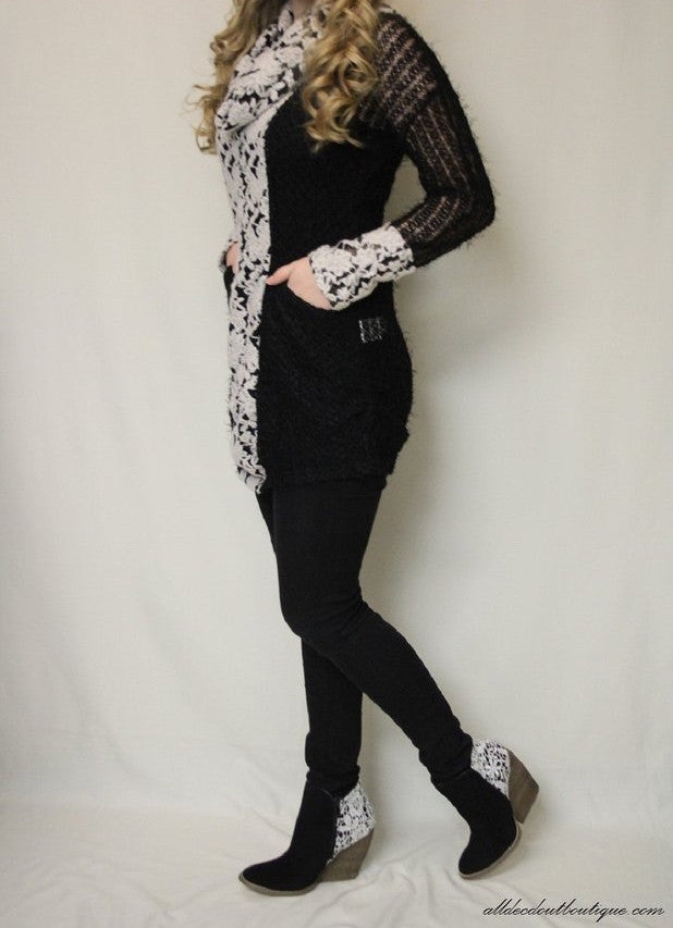 A'reve | Black Crochet with White Floral Lace - All Decd Out