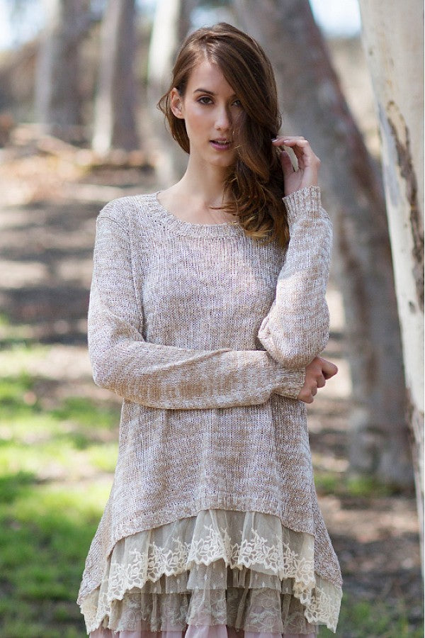 A'reve | Sweater With Lace Trim Cream - All Decd Out