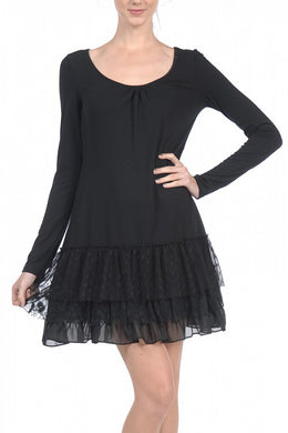 A'reve | Slip Dress Long Sleeve Black - All Decd Out