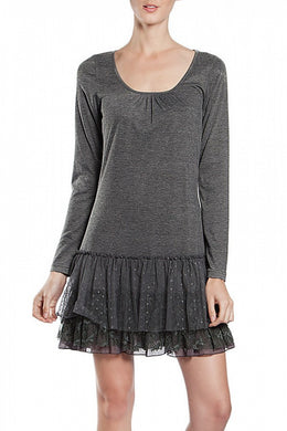 A'reve | Slip Dress Long Sleeve Charcoal - All Decd Out