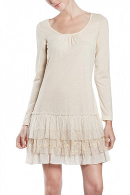 A'reve | Slip Dress Long Sleeve Cream - All Decd Out