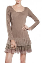 A'reve Slip Dress Long Sleeve Taupe | All Dec'd Out