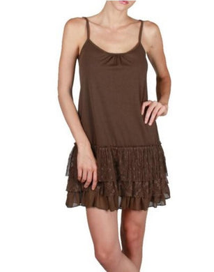 A'reve | Lace Slip Dress Brown