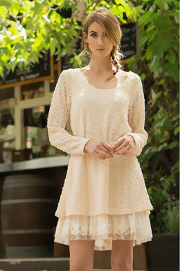 A'reve | Lace Trim Sweater Dress Cream - All Decd Out
