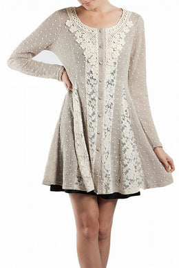 A'reve Button Up Lace Detail Jacket Taupe | All Dec'd Out