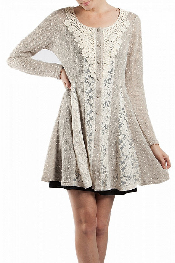 A'reve | Button Up Lace Detail Jacket Taupe - All Decd Out