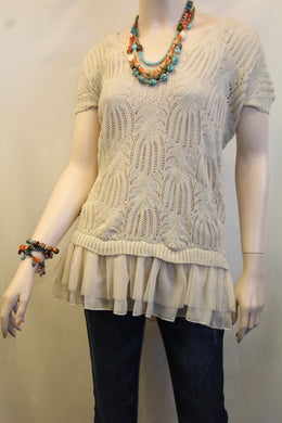 A'reve | Top with Ruffles Beige - All Decd Out