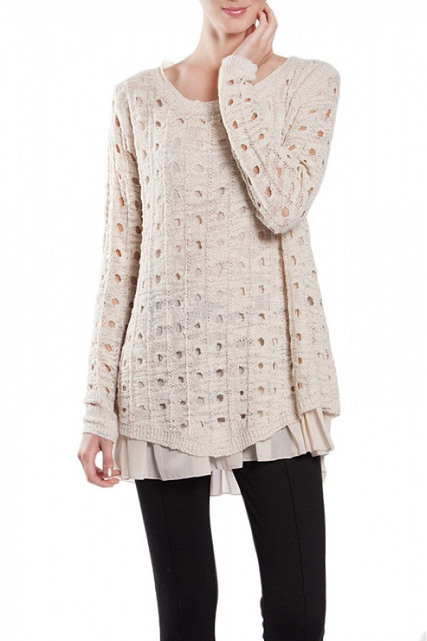 A'reve | Cut Out Sweater Cream - All Decd Out