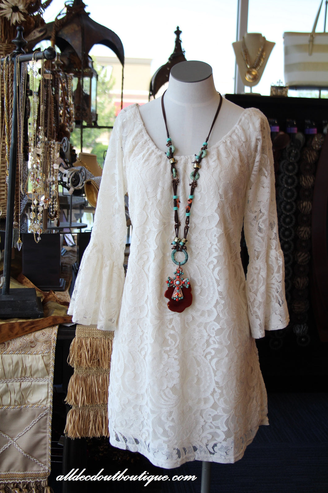 Blu Pepper | Lace Tunic Dress White