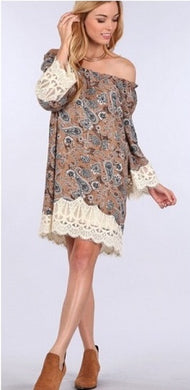 Blu Pepper Lace Trim Paisley Print Tunic Dress | All Dec'd Out