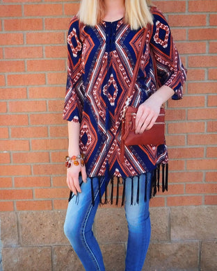 Blu Pepper Navy Boho Print Fringe Tunic Dress | All Dec'd Out