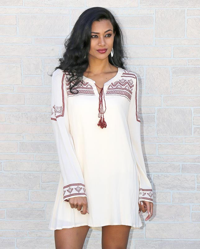 Blu Pepper | Boho Long Sleeve Tunic Dress