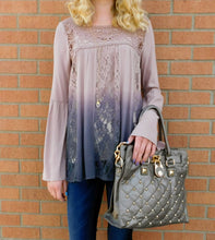 Blu Pepper Flare Sleeve Lace Detail Ombre Top | All Dec'd Out