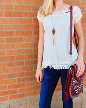 Blu Pepper | Short Sleeve Woven Top with Tassels