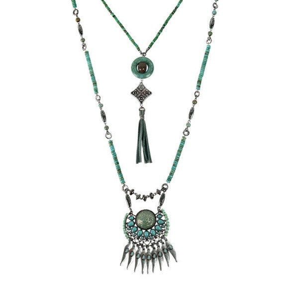 Treska | Two Strand Pendant Necklace with Leather Tassel Turquoise - All Decd Out