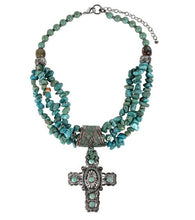 Treska | Cross Pendant on Beaded Necklace Turquoise - All Decd Out