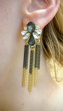 ADO | Fringe Statement Earrings Gold & Grey - All Decd Out