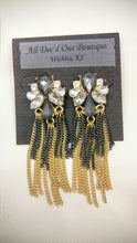 ADO | Fringe Statement Earrings Gold & Grey
