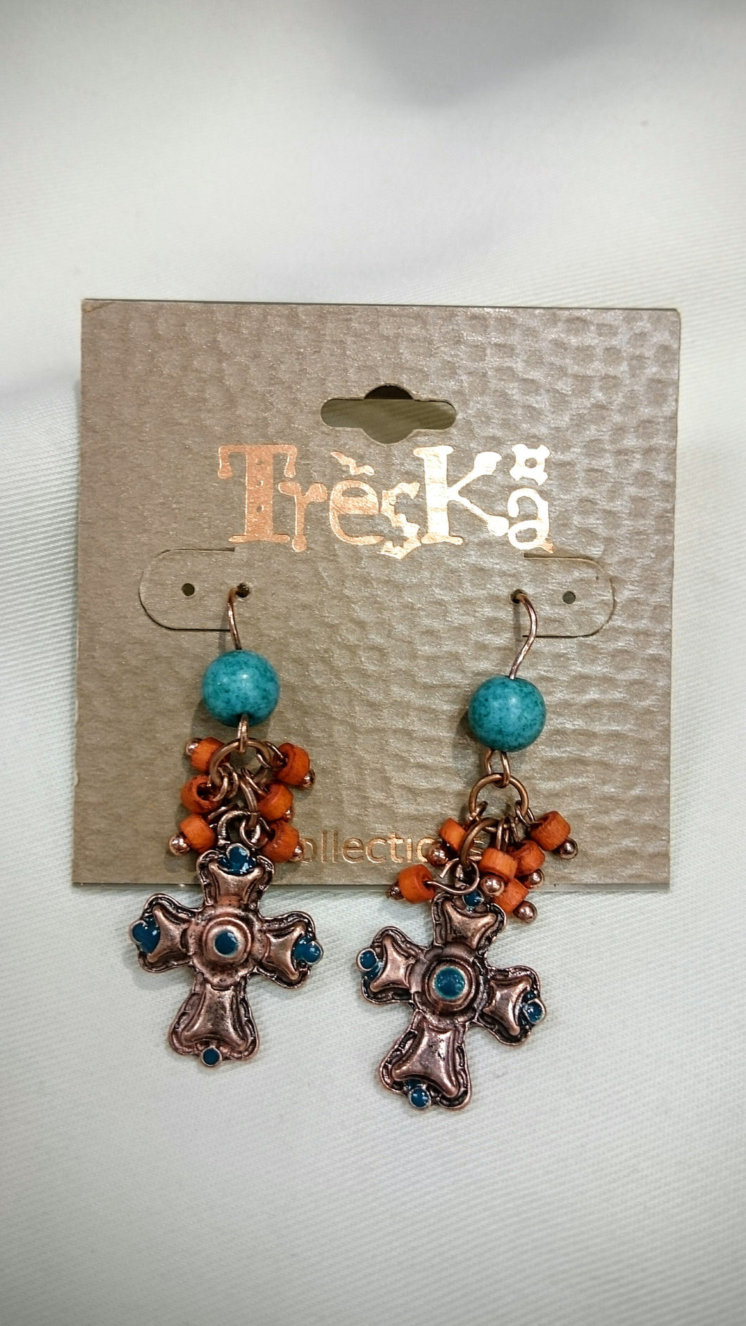 Treska | Cross & Cluster Drop Earrings