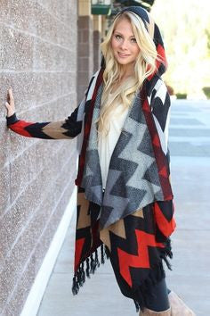 Double Zero Chevron Sweater Cardigan with Hood | All Dec'd Out