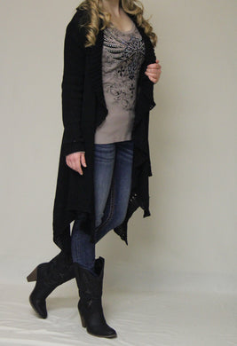 Double Zero | Cut Out Cardigan Black