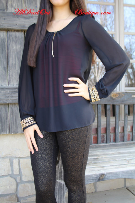 Double Zero | Black Sheer Top with Gold Chain Cuffs
