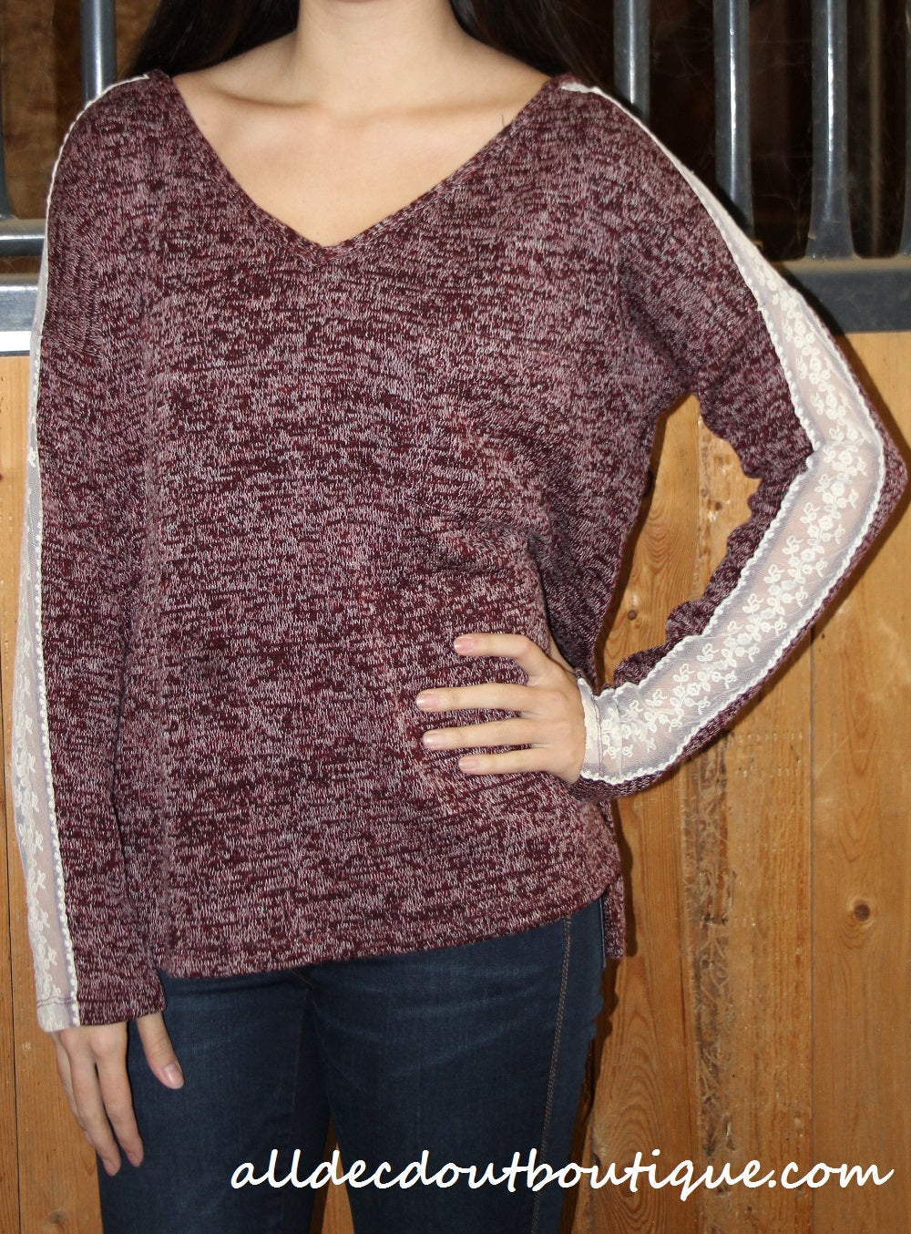Double Zero | Lace Accent Top Wine