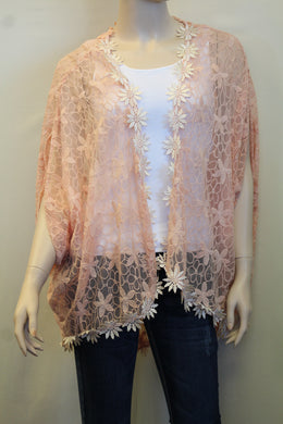 Double Zero | Salmon Floral Lace Cardigan