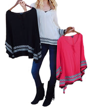 Double Zero | Poncho Top Black