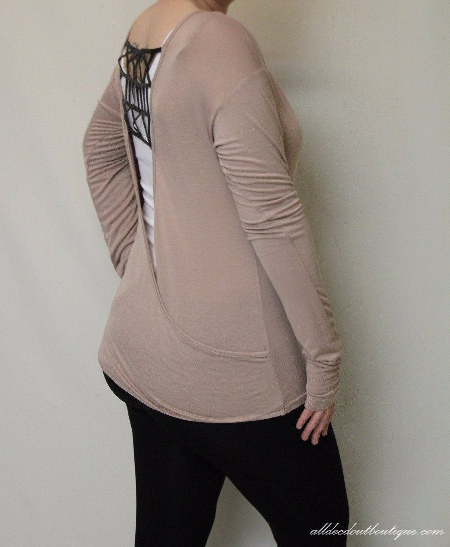 Double Zero | Open Back Top Taupe - All Decd Out