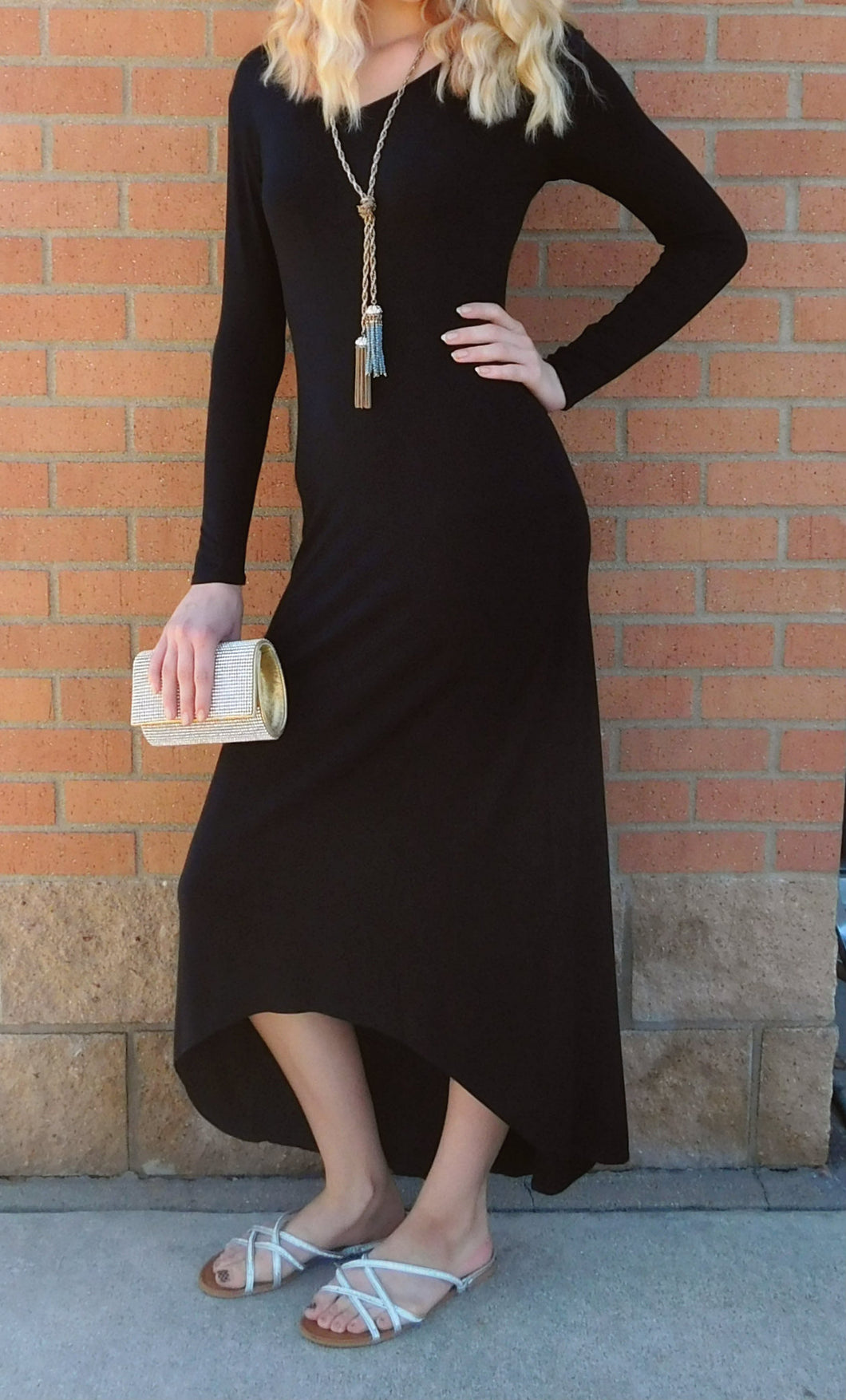 Elan | Full Black Long Sleeve Dress - All Decd Out