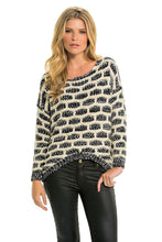 Elan | Black and White Crochet Sweater Hi Lo