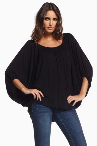 Elan | Solid Black 3/4 Sleeve Top - All Decd Out