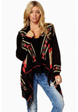 Elan Aztec Print Sweater Cardigan Black | All Dec'd Out