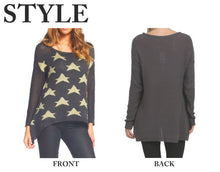 Elan | Star Hi-Lo Charcoal Sweater - All Decd Out