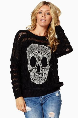 Elan Skull Sweater Black | All Dec'd Out