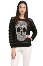 Elan | Crochet Skull Sweater Black