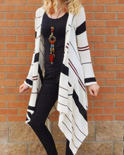 Elan | Long Striped Sweater Cardigan - All Decd Out