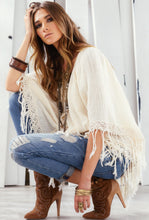Elan Poncho with Fringe Cream | All Dec'd Out