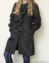 Firmiana | Black Zip Up Rain Jacket with Ruffles