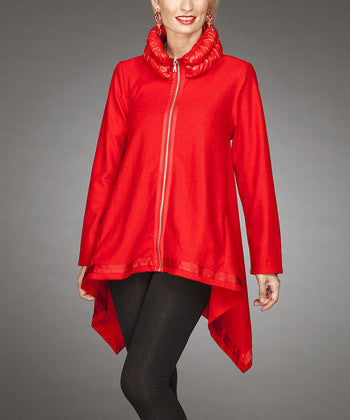 Firmiana | Zip Up Coat Red - All Decd Out