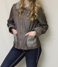 Firmiana | Rhinestone Zip Up Jacket Mocha