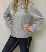 Firmiana | Rhinestone Zip Up Jacket Silver