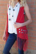 Firmiana Vest with Metal Rings and Leather Fringe Red | All Dec'd Out