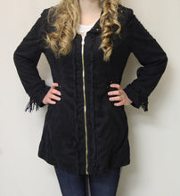 Firmiana | Coat with Zipper and Fringe Black