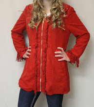 Firmiana | Coat with Zipper and Fringe Red