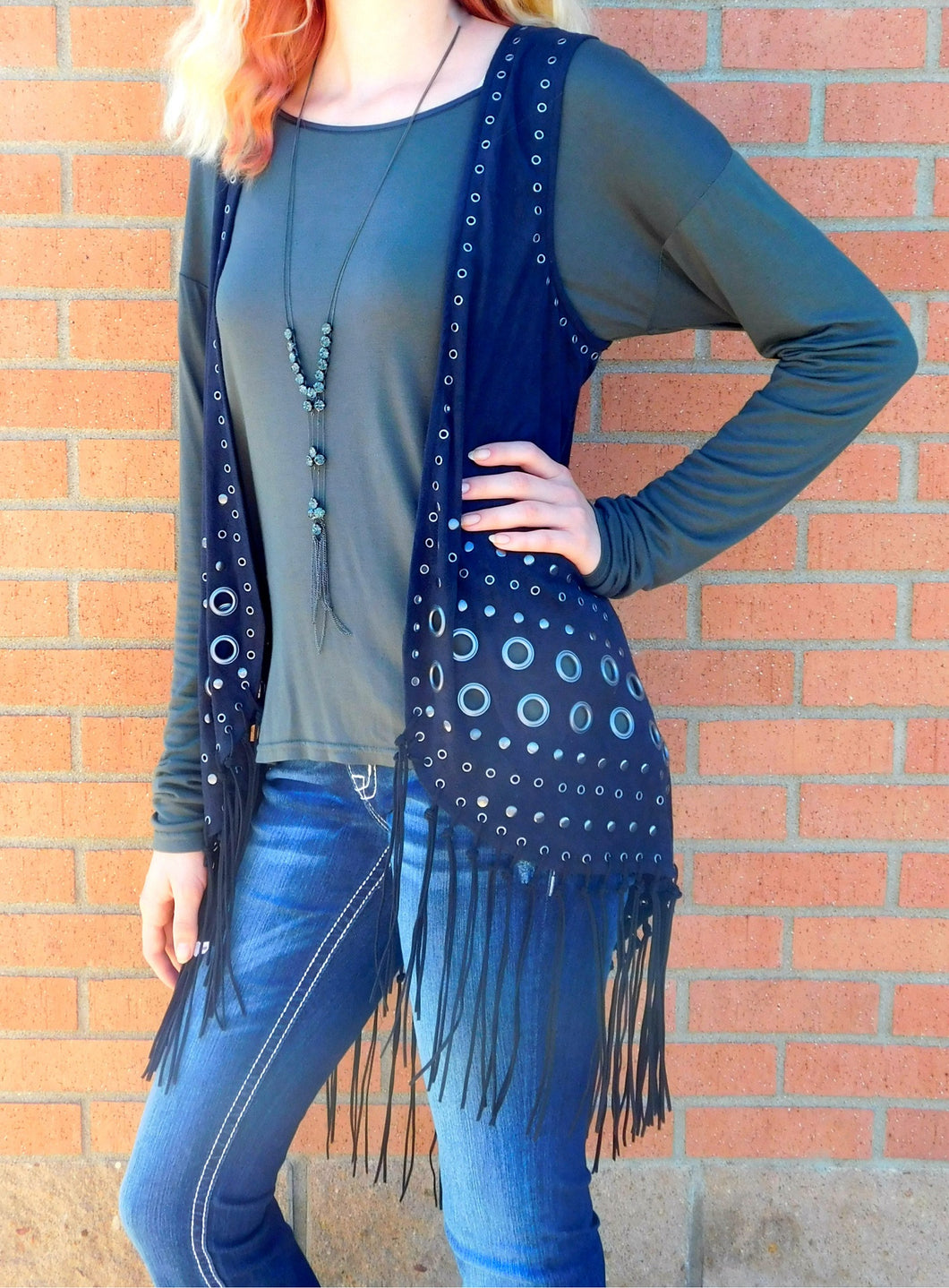 Firmiana | Black Vest with Fringe