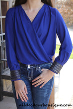 Double Zero | Hi-Lo Top with Beaded Cuffs Royal Blue