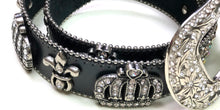 Black Leather Crown & Fleur De Lis Belt